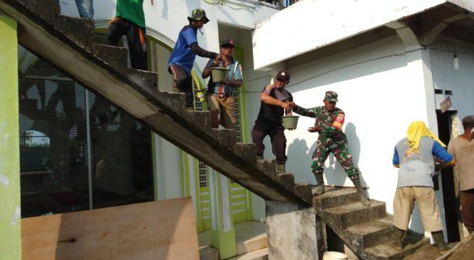TNI Dan Polri Bangun Mesjid Nurul Huda Desa Baru