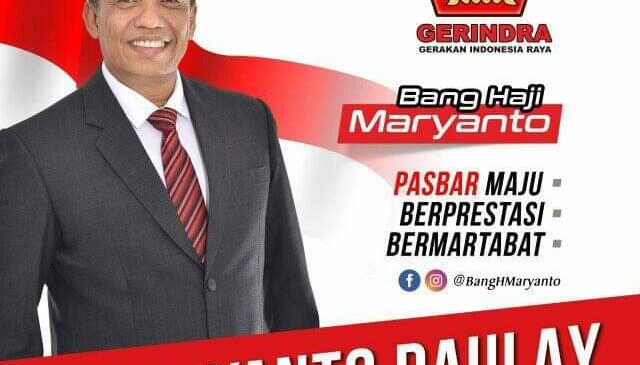 Sah, Partai Gerindra Usung H. Maryanto Sebagai Cabup Pasbar